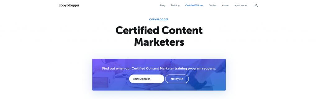 شهادة Copyblogger Certified Content Marketer