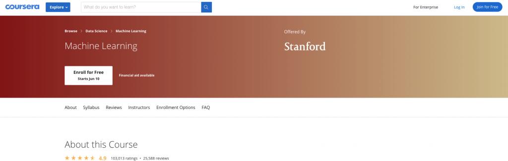 شهادة تعلم الآلة من جامعة ستانفورد