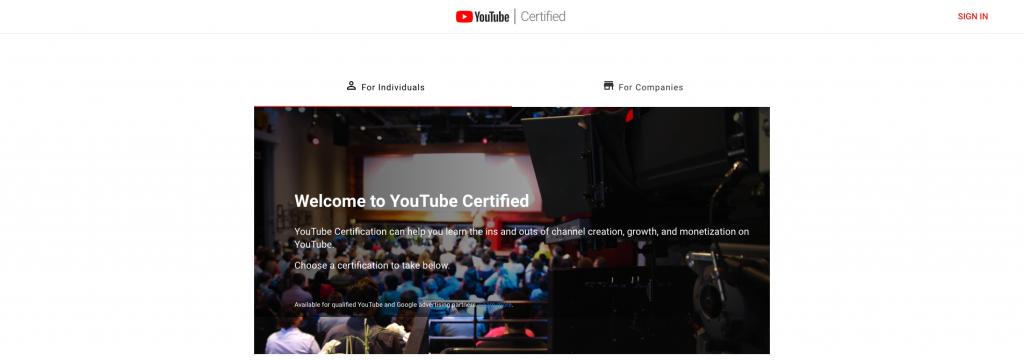 شهادة YouTube