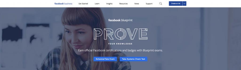 شهادة Facebook BluePrint